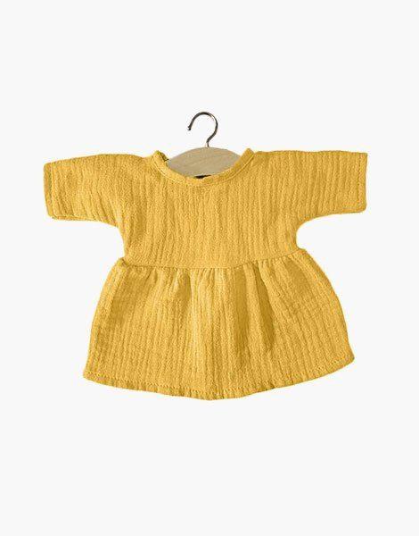 .Robe Faustine coton double gaze Moutarde