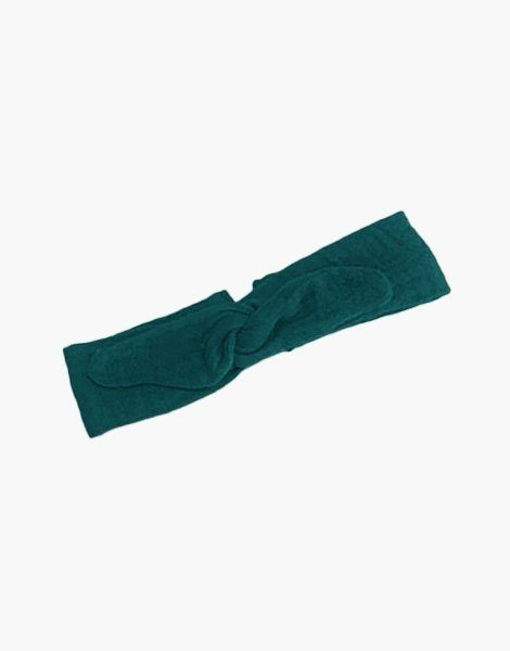Headband en coton double gaze vert emeraude