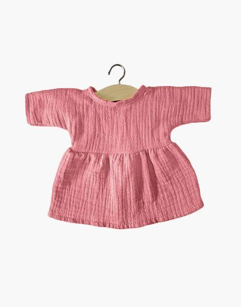 .Robe Faustine coton double gaze rose tendre
