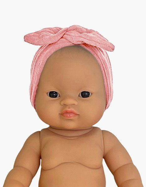 Headband en coton double gaze Rose tendre