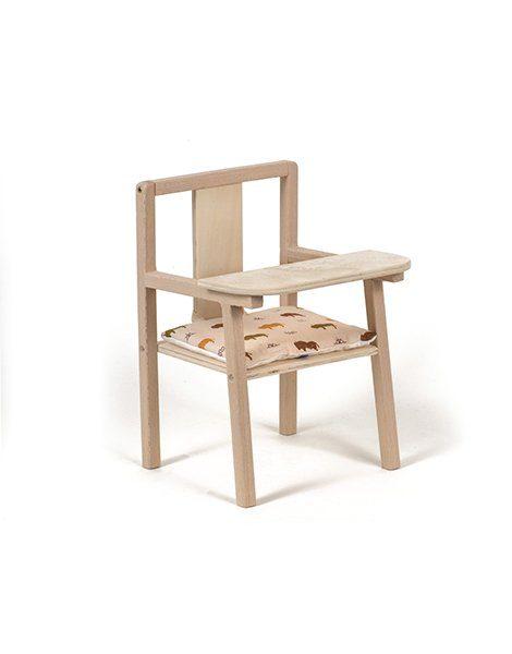 """Petite chaise haute en bois """"Blaise"""" et son coussin de chaise en coton Buffalo"""