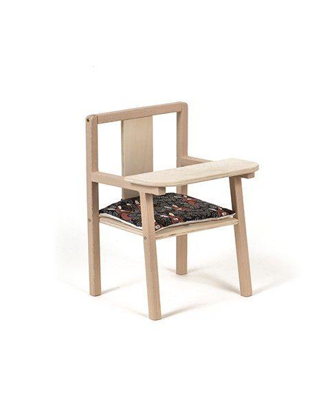 """Petite chaise haute en bois """"Blaise"""" et son coussin de chaise en coton Cache-cache"""