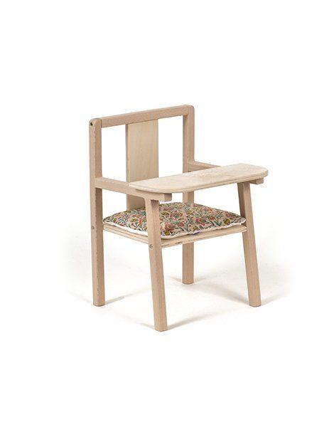 """Petite chaise haute en bois """"Blaise"""" et son coussin de chaise en coton Fleurs en liane"""