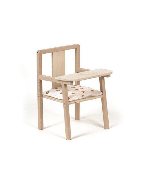 """Petite chaise haute en bois """"Blaise"""" et son coussin de chaise en coton Holly"""