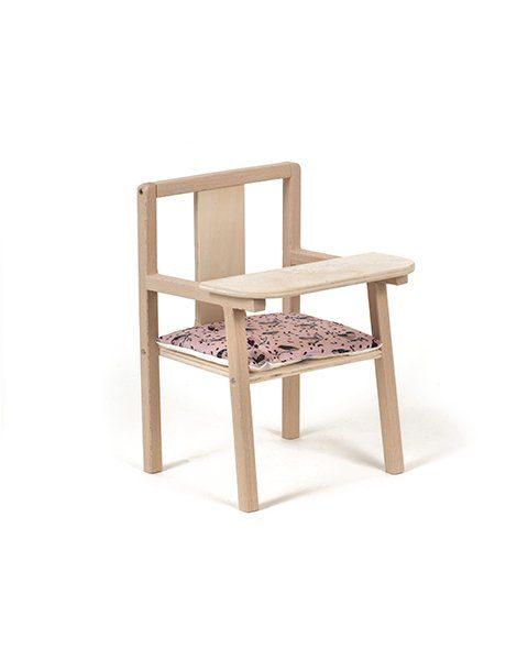 """Petite chaise haute en bois """"Blaise"""" et son coussin de chaise en coton Jojo"""