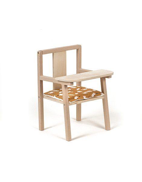 """Petite chaise haute en bois """"Blaise"""" et son coussin de chaise en coton Little chick"""