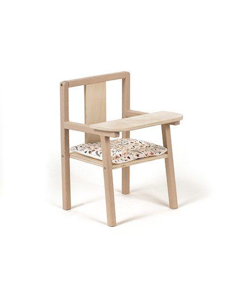 """Petite chaise haute en bois """"Blaise"""" et son coussin de chaise en coton Nina"""