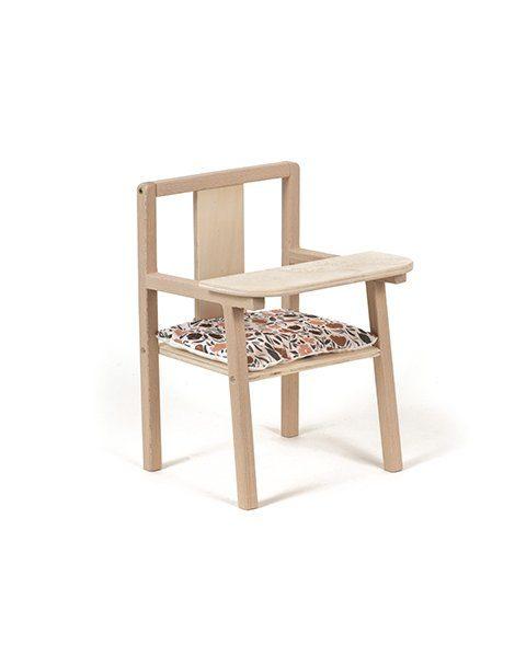"""Petite chaise haute en bois """"Blaise"""" et son coussin de chaise en coton Zelda"""