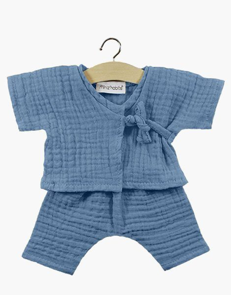 Kimono Niko en coton double gaze Bleu artic