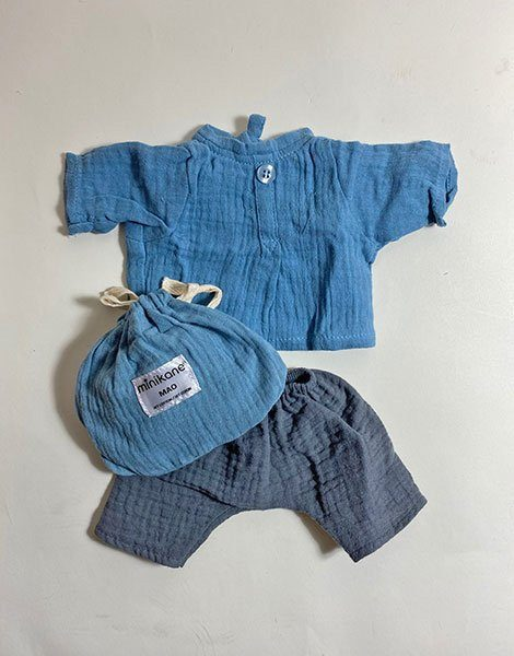 "*Ensemble ""Mao""en coton double gaze bleu / gris"