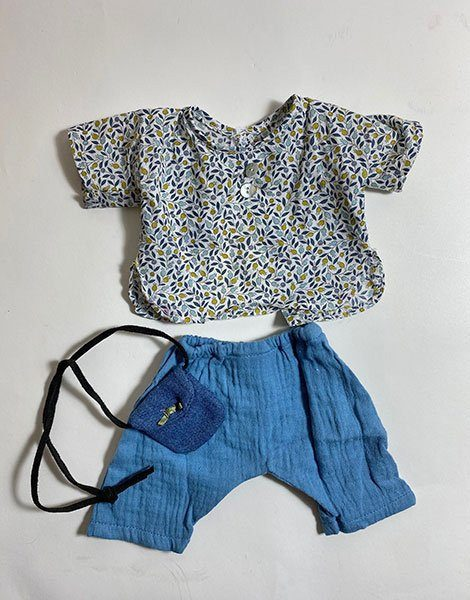 *Ensemble Top en coton Liberty bleu / Pantalon en coton double gaze Bleu artic / Mini sac bandoulière