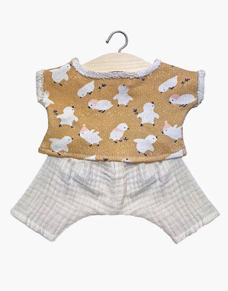 """Ensemble """"Maxou"""" en sweat Little chick et son pantalon Gaston en double gaze écru"""