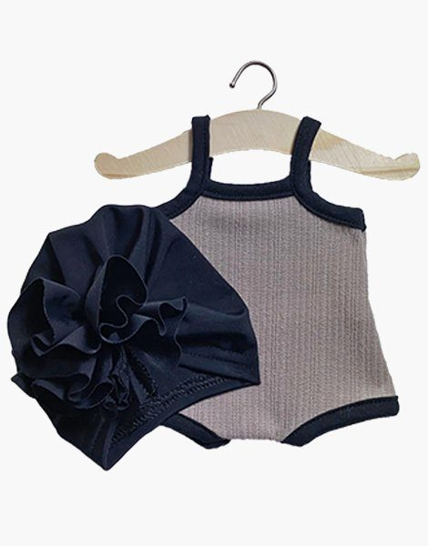 Maillot « GILDA » en jersey et son turban Fleur noir