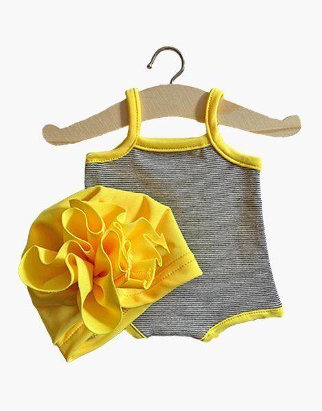 """Maillot """"GILDA"""" en jersey à mini rayure et son turban Fleur Jaune fluo"""