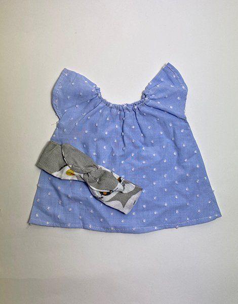 *Robe Mazarine bleu pâle à pois et son headband Fleurs des îles