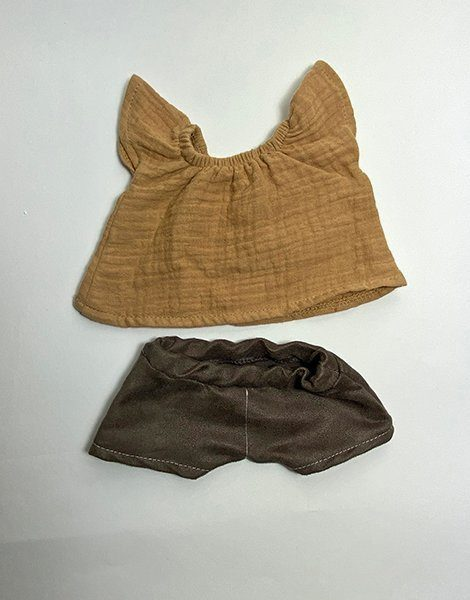 *Top Mazarine en double gaze Camel et son short en velours chocolat