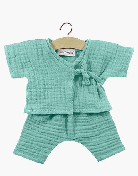 Kimono Niko en coton double gaze Vert d'eau