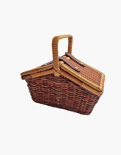 Panier picnic doublé en osier et ses assortiments en bois