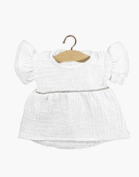 Robe Daisy en coton double gaze Blanc, passe-poil Silver