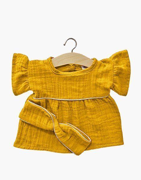 Robe Daisy en coton double gaze Moutarde, passe-poil Gold et son headband