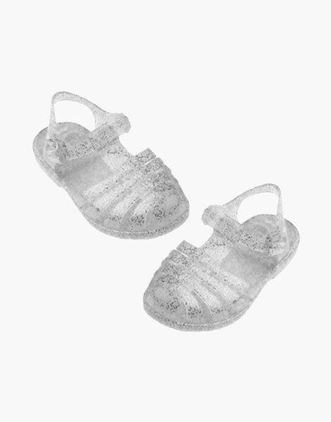 """Sandales de plage """"Sun"""" pour poupée Gordis Argent pailleté"""