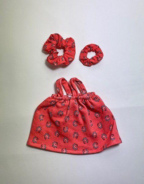 *Robe Mila en sweat Dahlia et sa paire de chouchou en coton Dahlia (Enfant / Poupée)