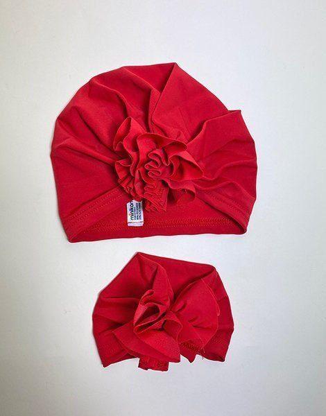 *Duo de Turban Enfant/Poupée en lycra rouge 2/3 ans