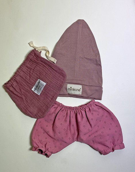 *Ensemble Pantalon Laura / Bonnet sock en jersey Rose orchidée / Pochon en double gaze
