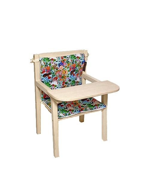 """Petite chaise haute en bois """"Blaise"""" et son assise double en coton """"Les Lapins"""""""