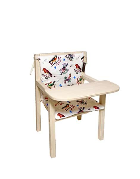 """Petite chaise haute en bois """"Blaise"""" et son assise double en coton """"Little birds"""""""