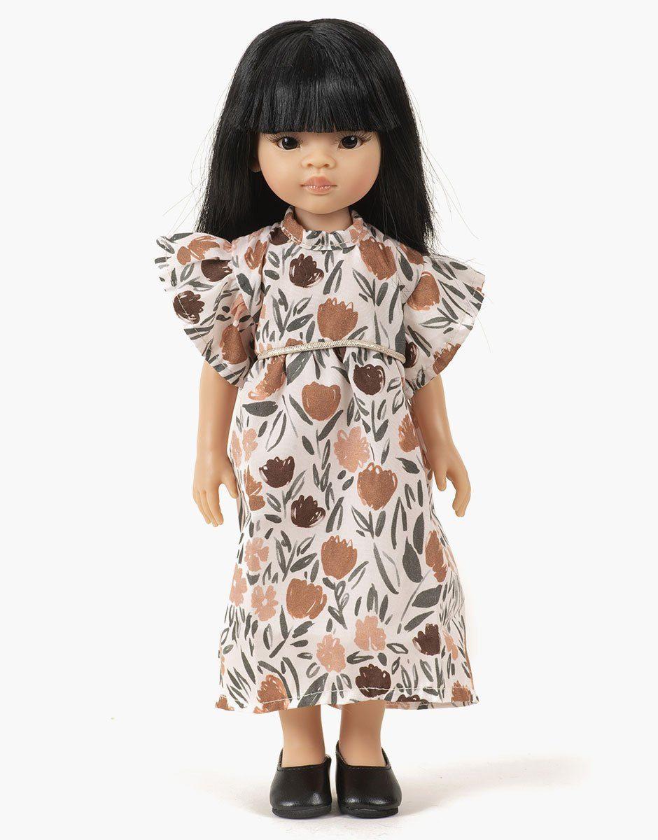 Minikane - Dressing pour poupées Amigas. Liu porte une robe Daisy au motif Zelda