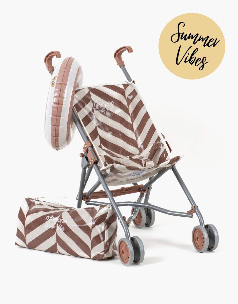 Minikane - poussette pour poupées en coton enduit motif exclusif stripes blush