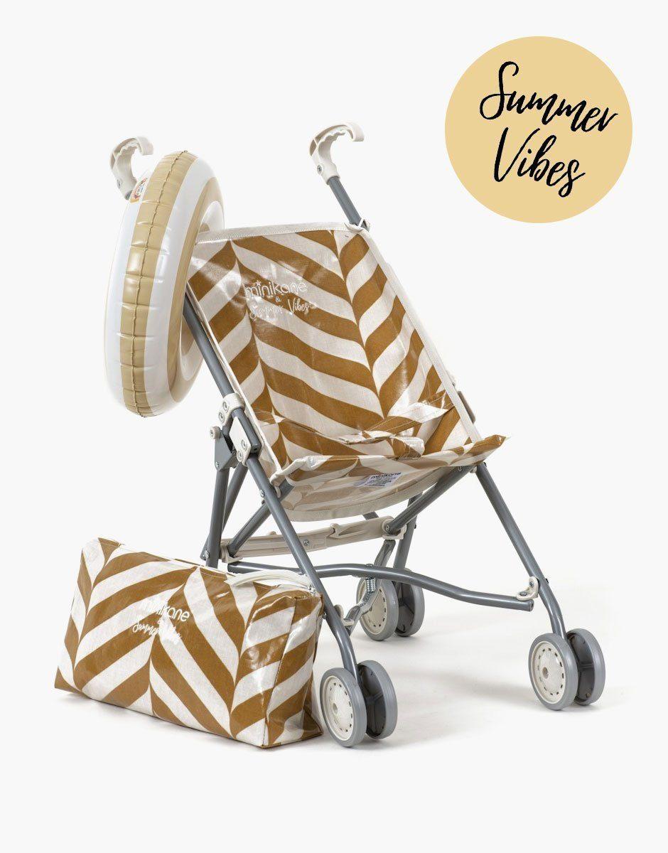 Minikane - poussette pour poupées en coton enduit motif exclusif stripes jaune des sables