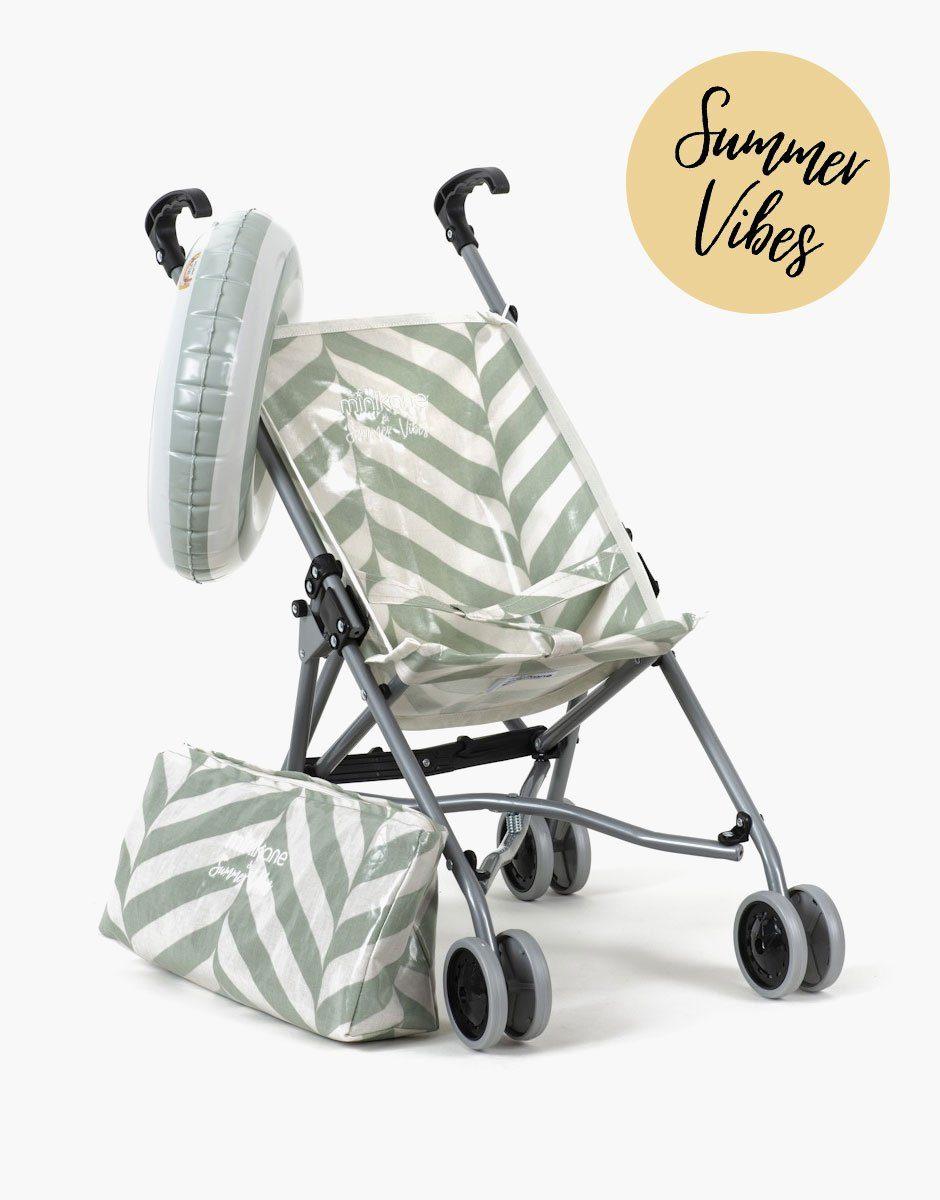 Minikane - poussette pour poupées en coton enduit motif exclusif stripes vert de gris